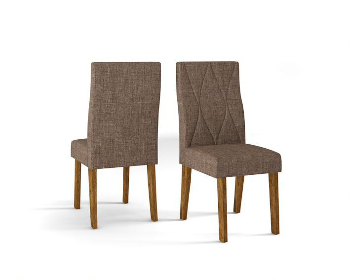 Cadeira De Jantar MANUELA TRONCO RIPADO LINHO MARROM- CONJUNTO COM 2 CADEIRAS