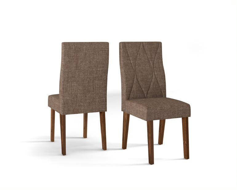 Cadeira De Jantar MANUELA TRUFA LINHO MARROM- CONJUNTO COM 2 CADEIRAS