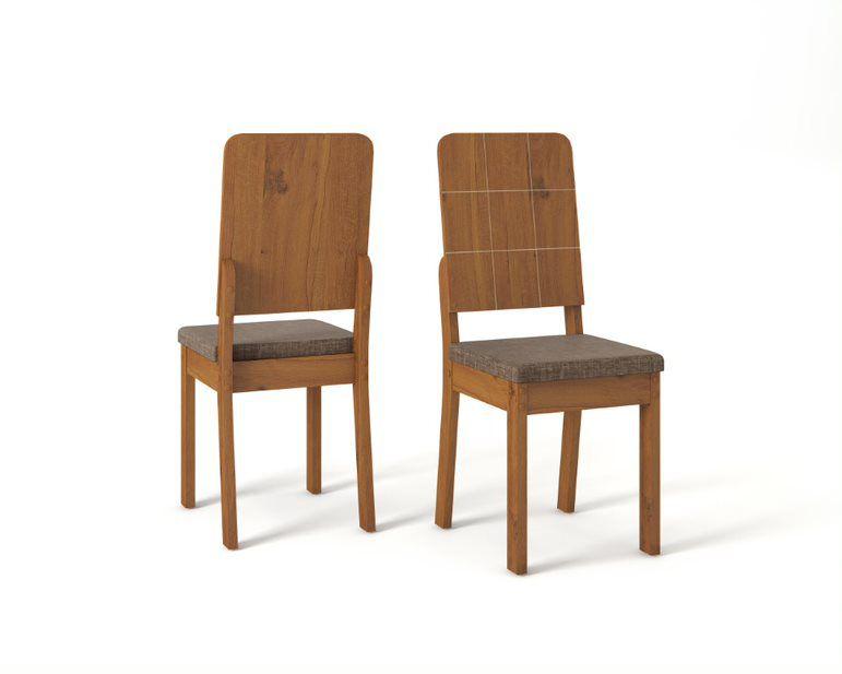 Cadeira De Jantar RUTE TELHA LINHO MARROM - CONJUNTO COM 2 CADEIRAS