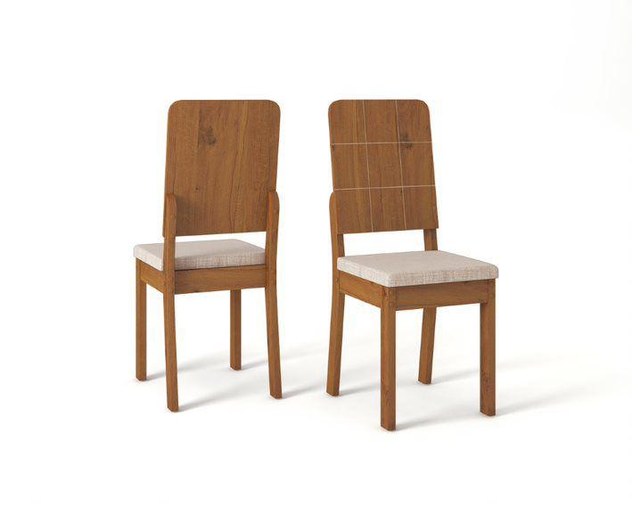Cadeira De Jantar RUTE  TELHA LINHO URBANO - CONJUNTO COM 2 CADEIRAS