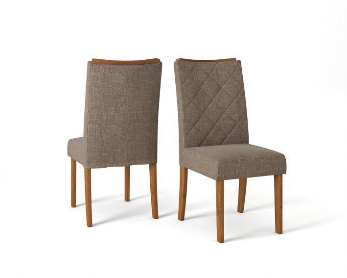 Cadeira De Jantar SARA TELHA LINHO MARROM - CONJUNTO COM 2 CADEIRAS