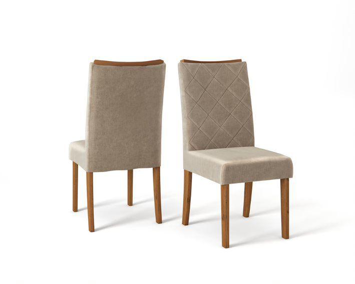 Cadeira De Jantar SARA TELHA VELUDO CÁQUI- CONJUNTO COM 2 CADEIRAS
