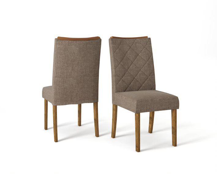 Cadeira De Jantar SARA TRONCO RIPADO LINHO MARROM- CONJUNTO COM 2 CADEIRAS