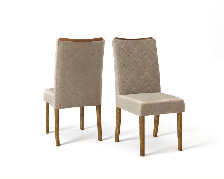 Cadeira De Jantar SARA TRONCO RIPADO VELUDO CÁQUI- CONJUNTO COM 2 CADEIRAS