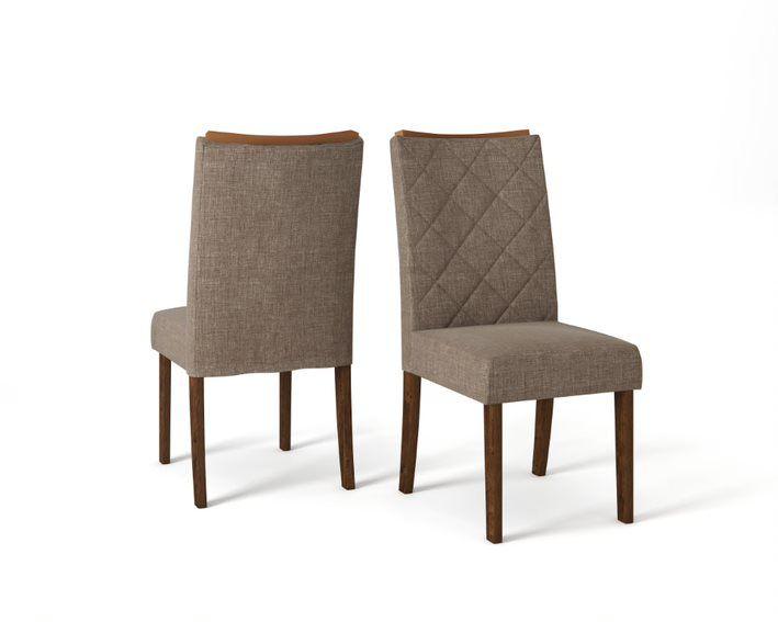 Cadeira De Jantar SARA TRUFA LINHO MARROM- CONJUNTO COM 2 CADEIRAS