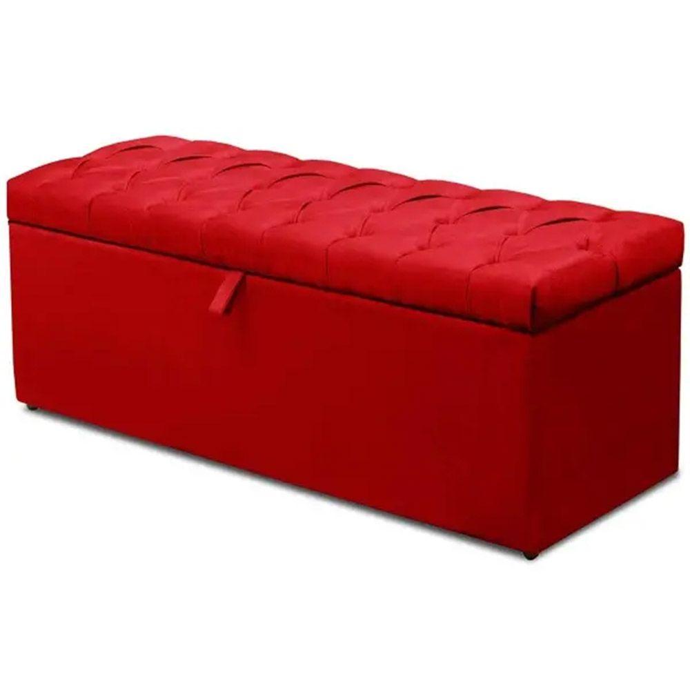 Calçadeira Italia Queen 160 cm Suede Vermelho - Arte das Cabeceiras