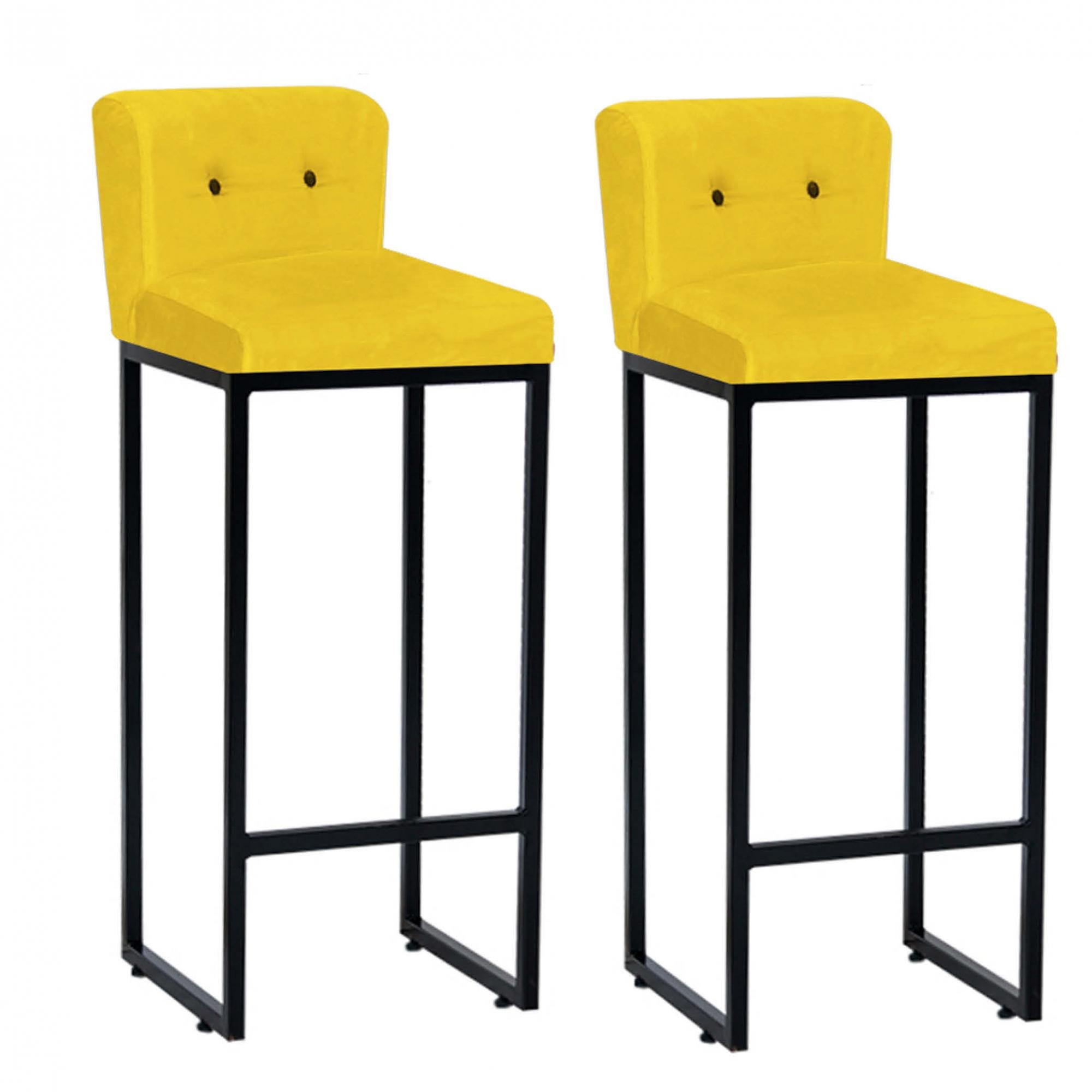 Kit 02 Banquetas Decorativa Alta Loues Tecido Sintético Amarelo Com Botão Preto e Encosto Para Cozinha Bar Balcão Bistrô Pés de Ferro Preto -Bela Casa Shop