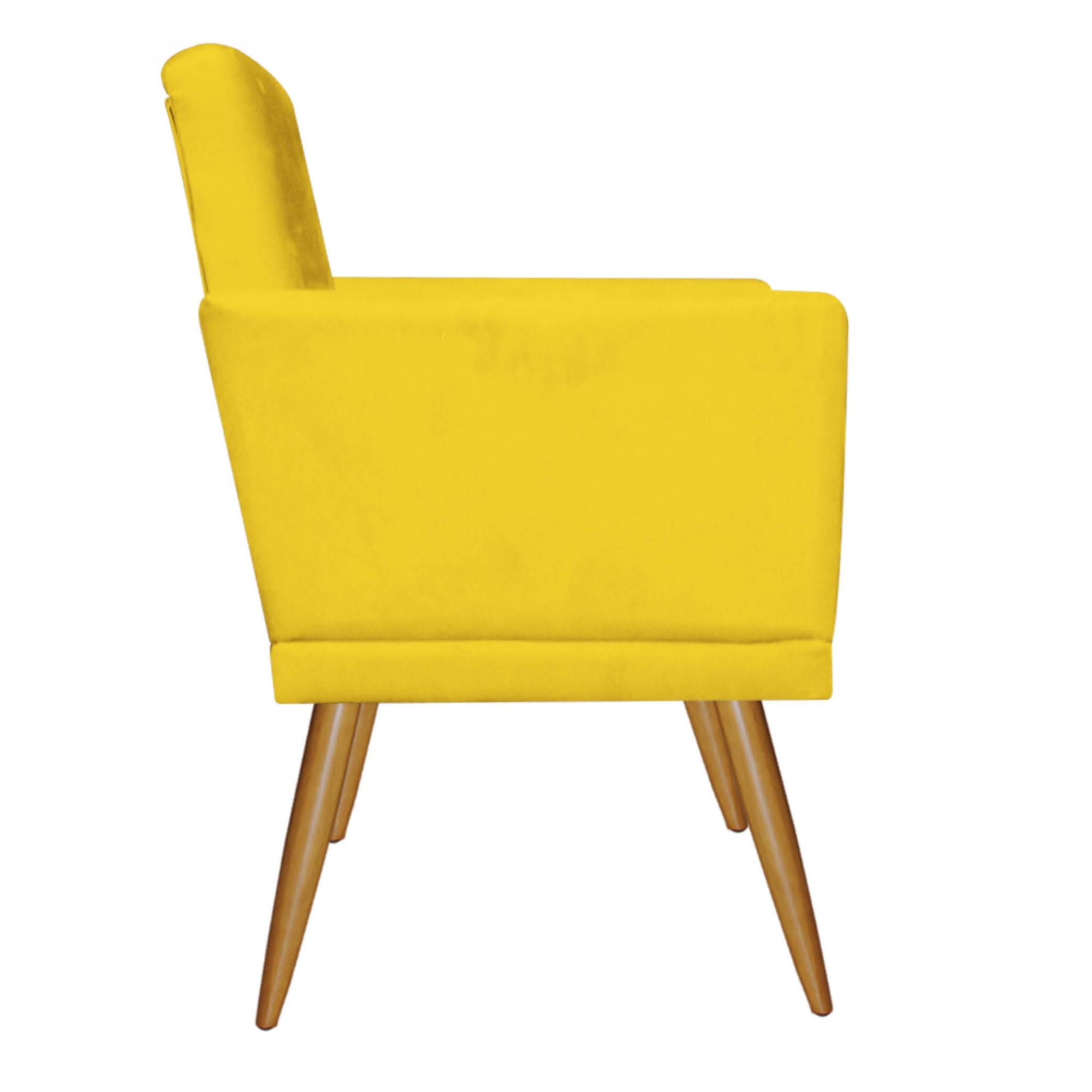 Kit 02 Poltrona Decorativa Nina com rodapé Amarelo - Bela Casa Shop