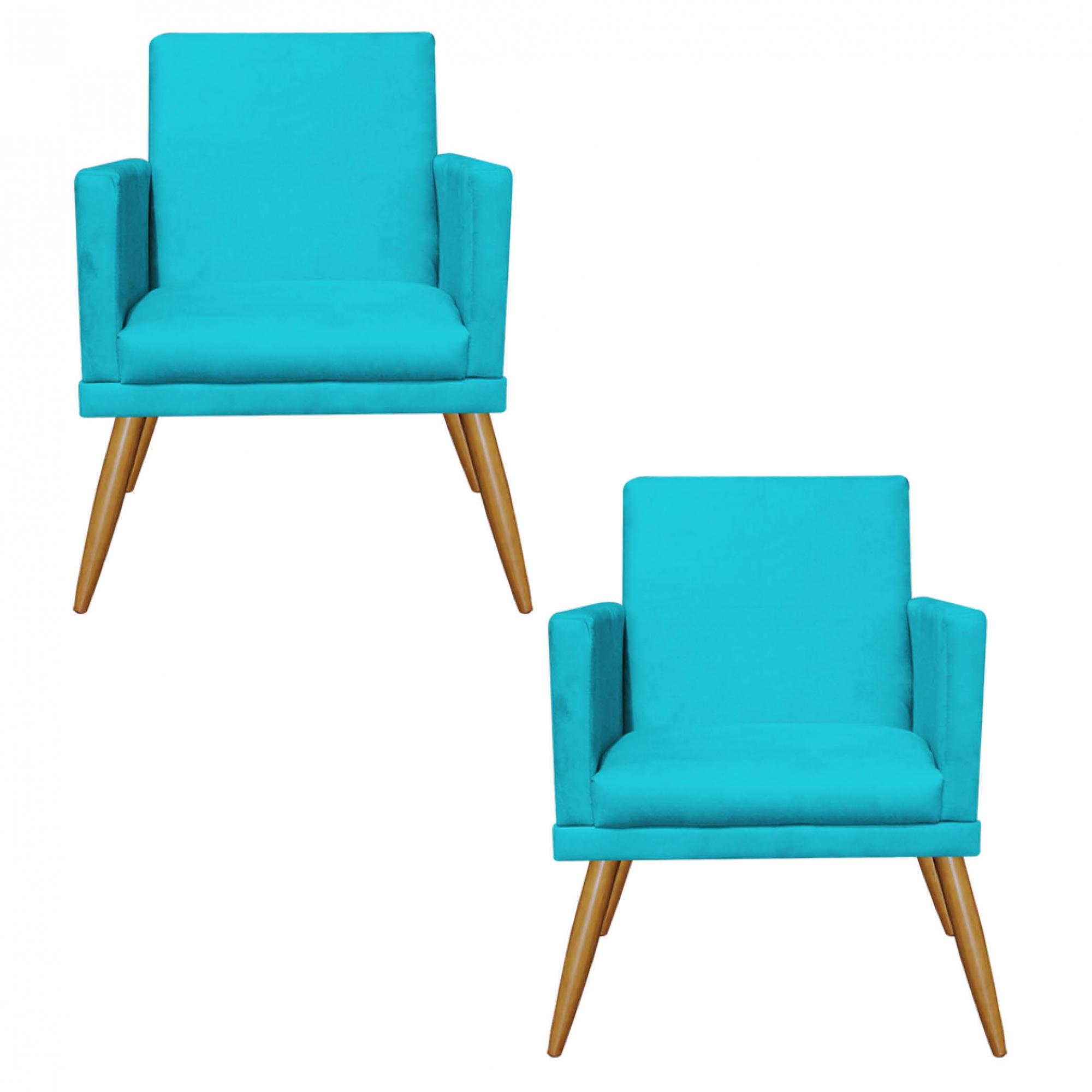 Kit 02 Poltrona Decorativa Nina com rodapé Azul - Bela Casa Shop
