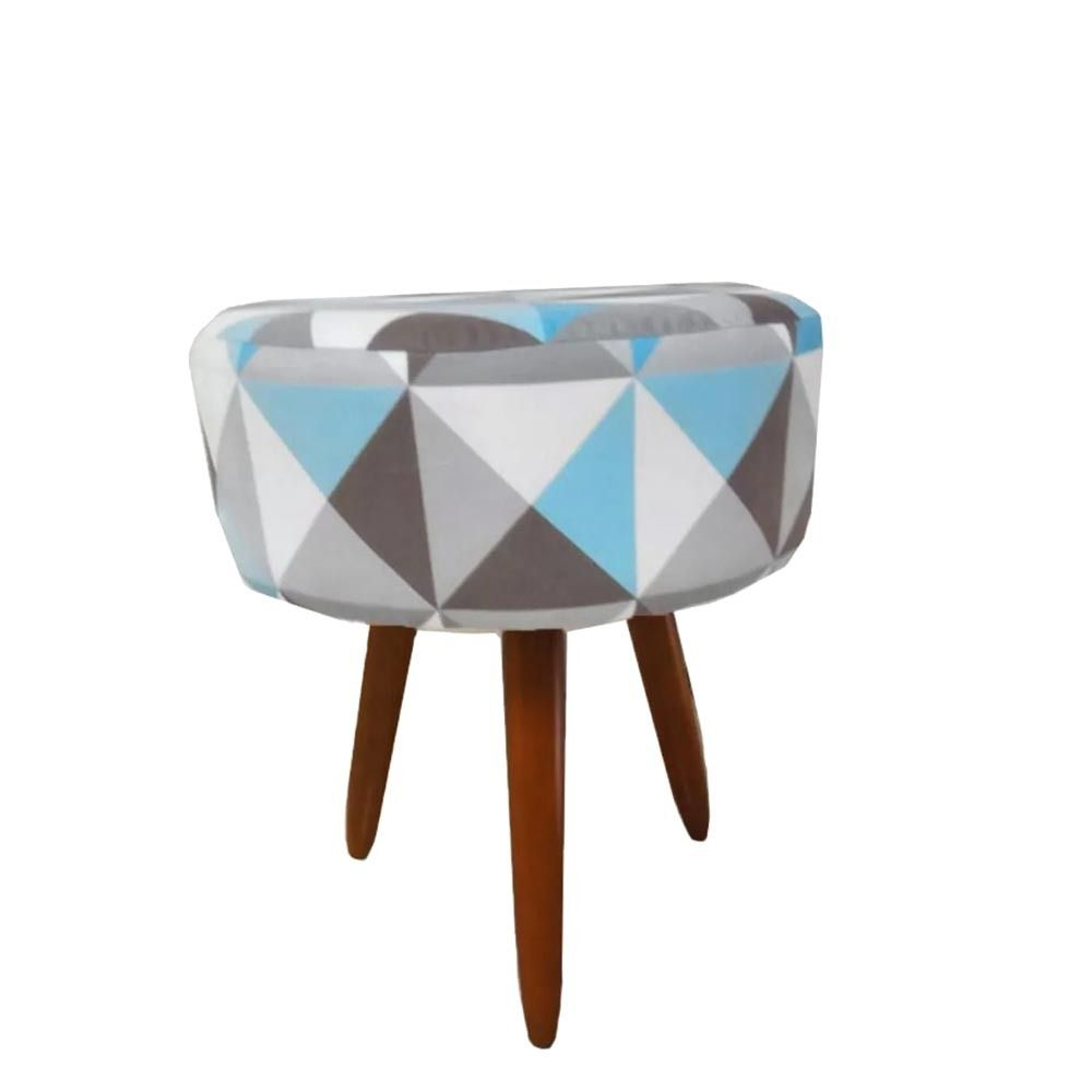 Kit 02 Poltrona Decorativa Nina com rodapé e Puff Redondo Triângulo Azul - Bela Casa Shop