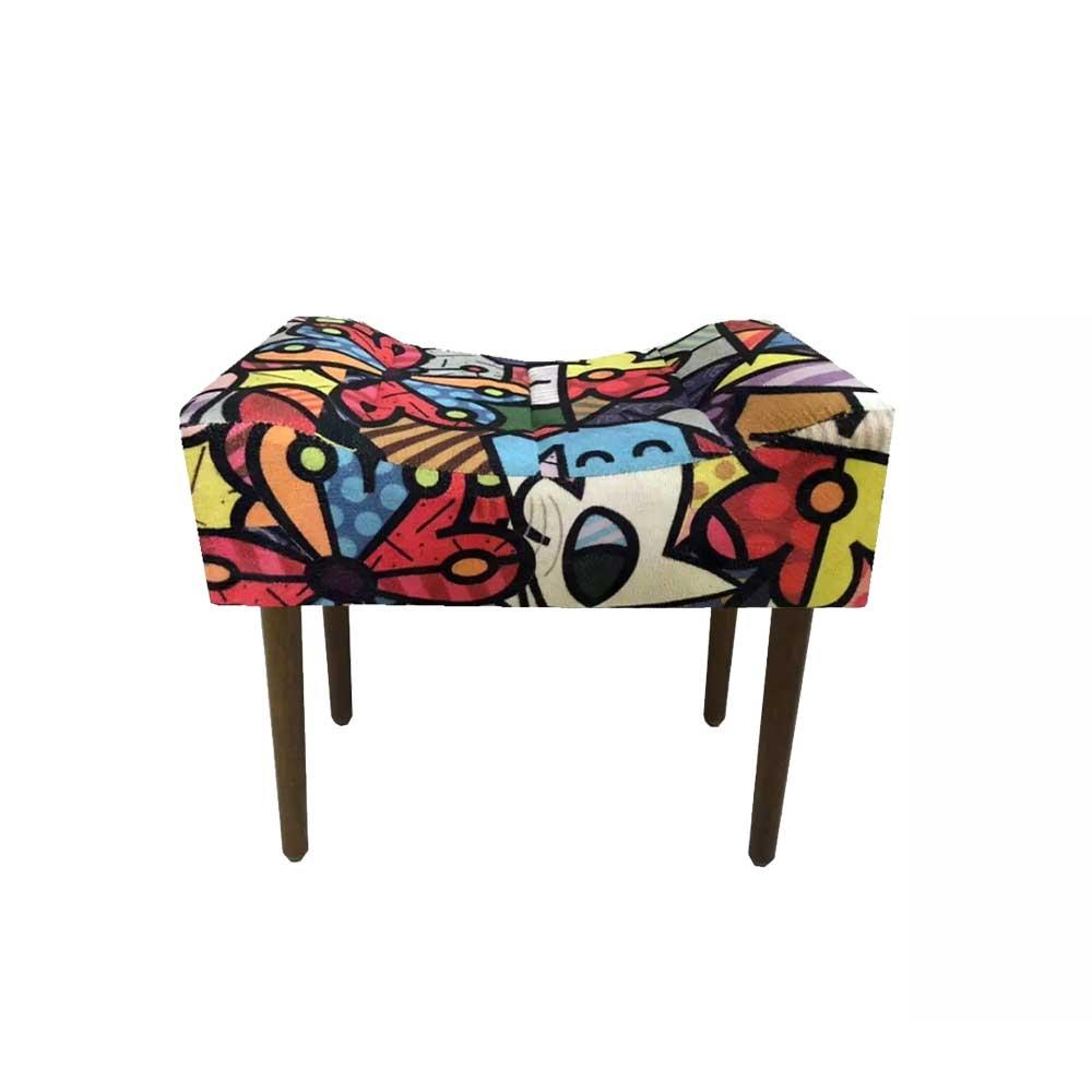 Kit 02 Poltrona Decorativa Nina com rodapé e Puff retangular Romero Brito - Bela Casa Shop