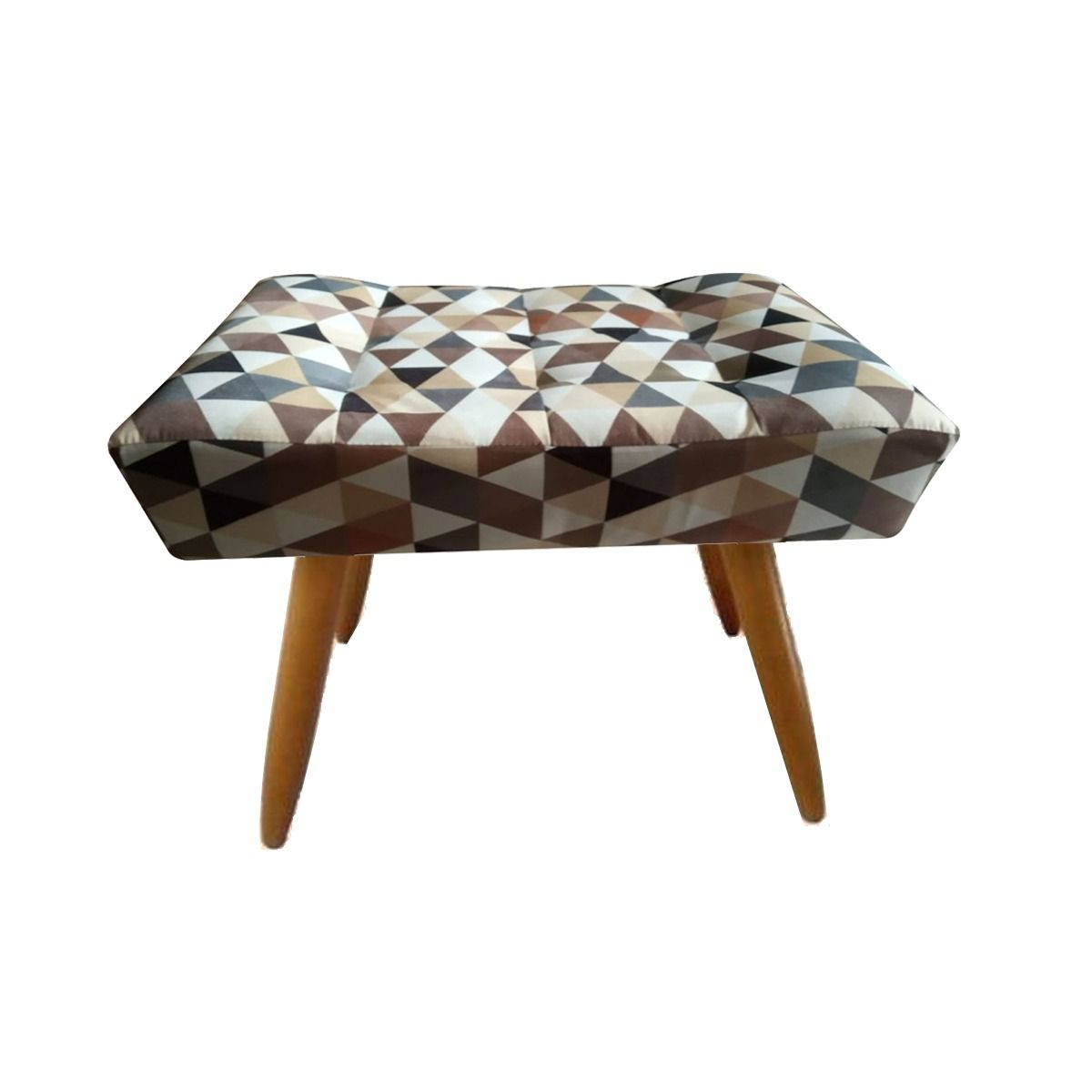 Kit 02 Poltrona Decorativa Nina com e Puff retangular Triângulos Bege - Bela Casa Shop