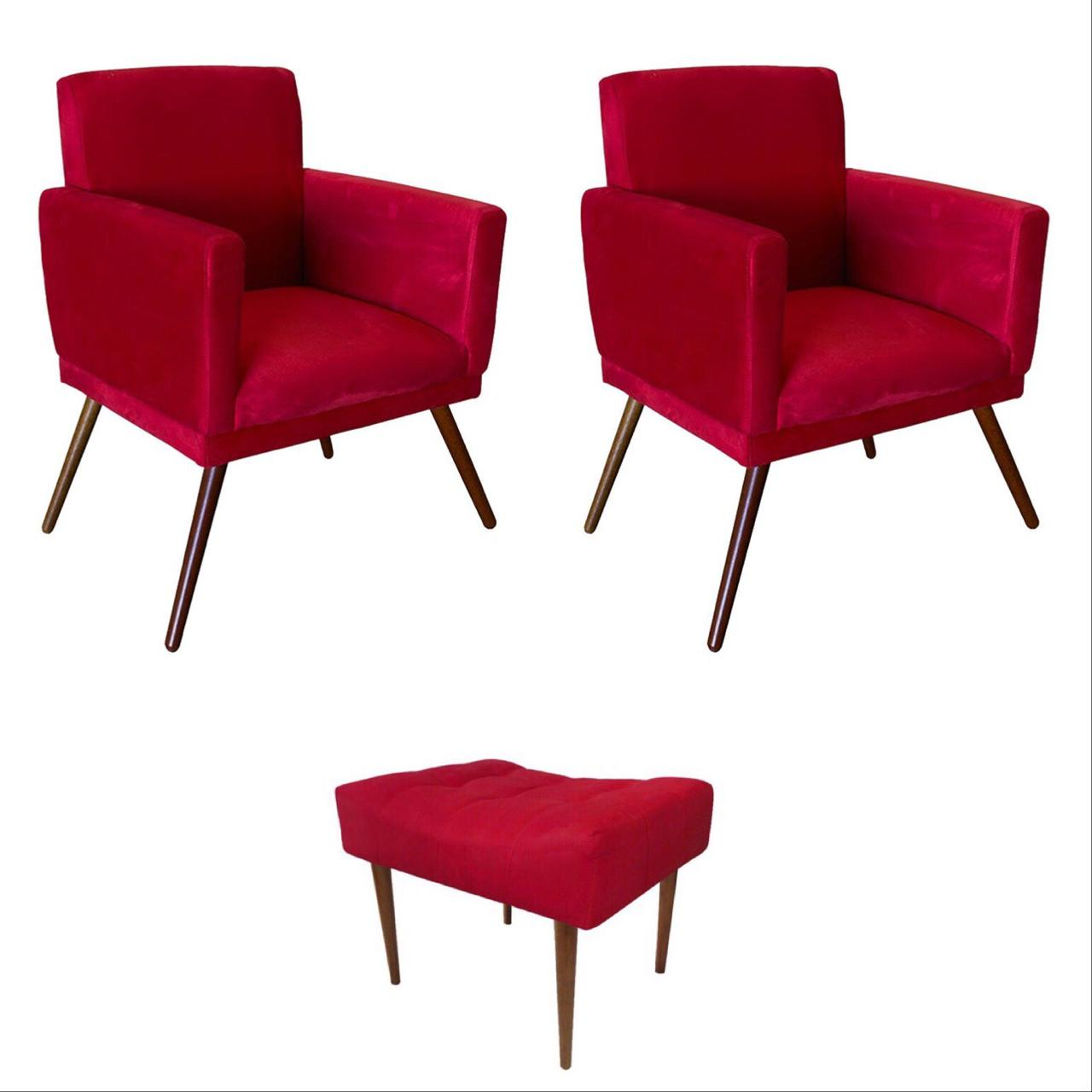 Kit 02 Poltrona Decorativa Nina com rodapé e Puff retangular Vermelho - Bela Casa Shop