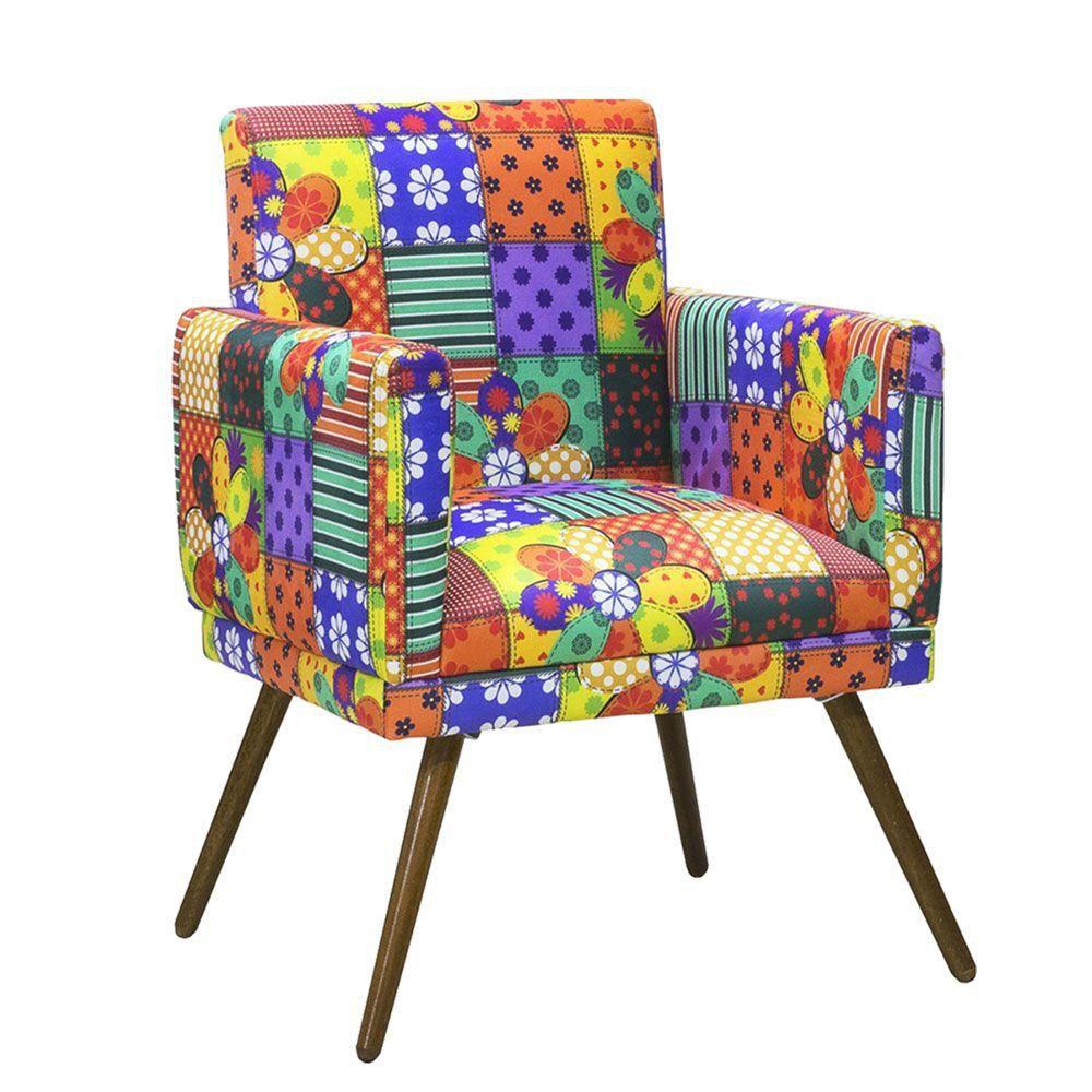 Kit 02 Poltrona Decorativa Nina com rodapé Patchwork- Bela Casa Shop