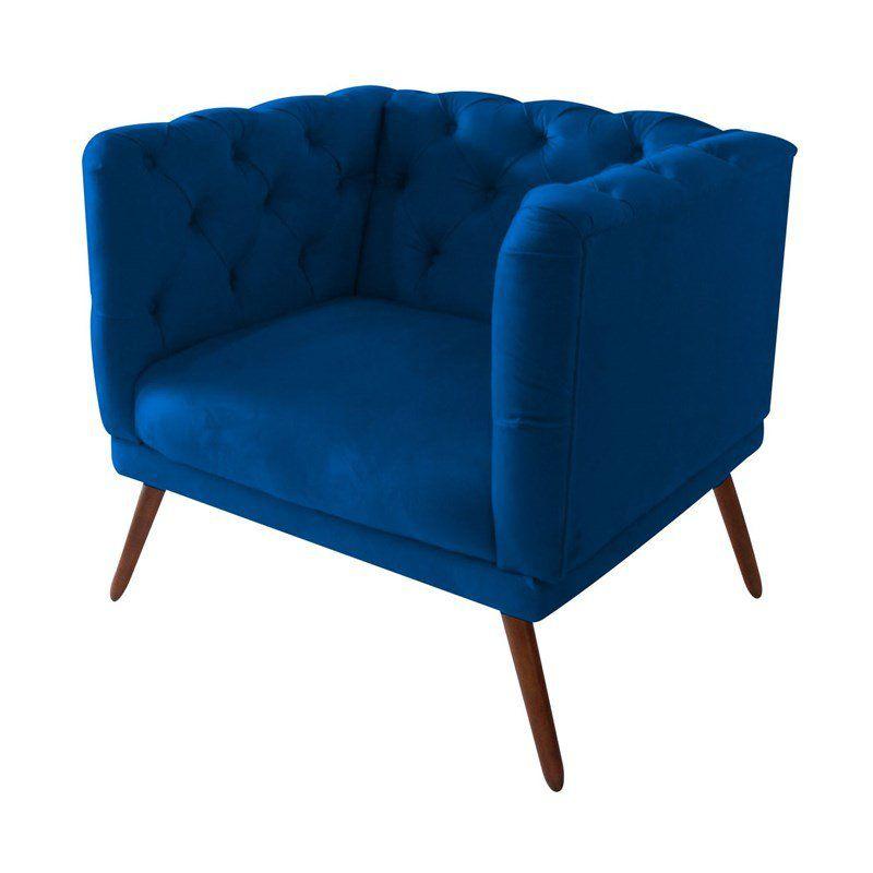 Kit 02 Poltronas Decorativa Capitone Tecido Sintético Azul Marinho