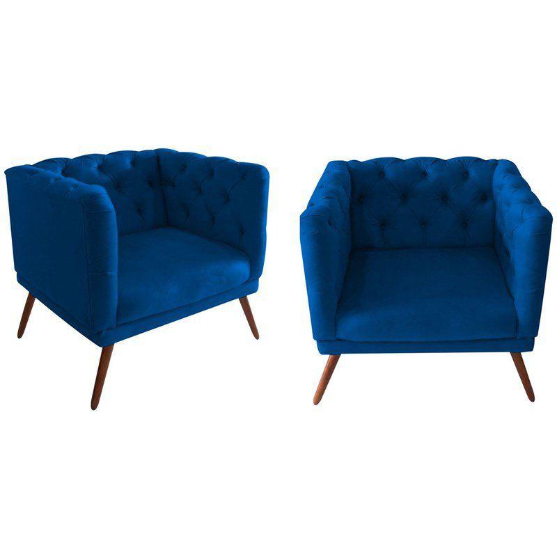 Kit 02 Poltronas Decorativa Capitone Suede Azul Marinho