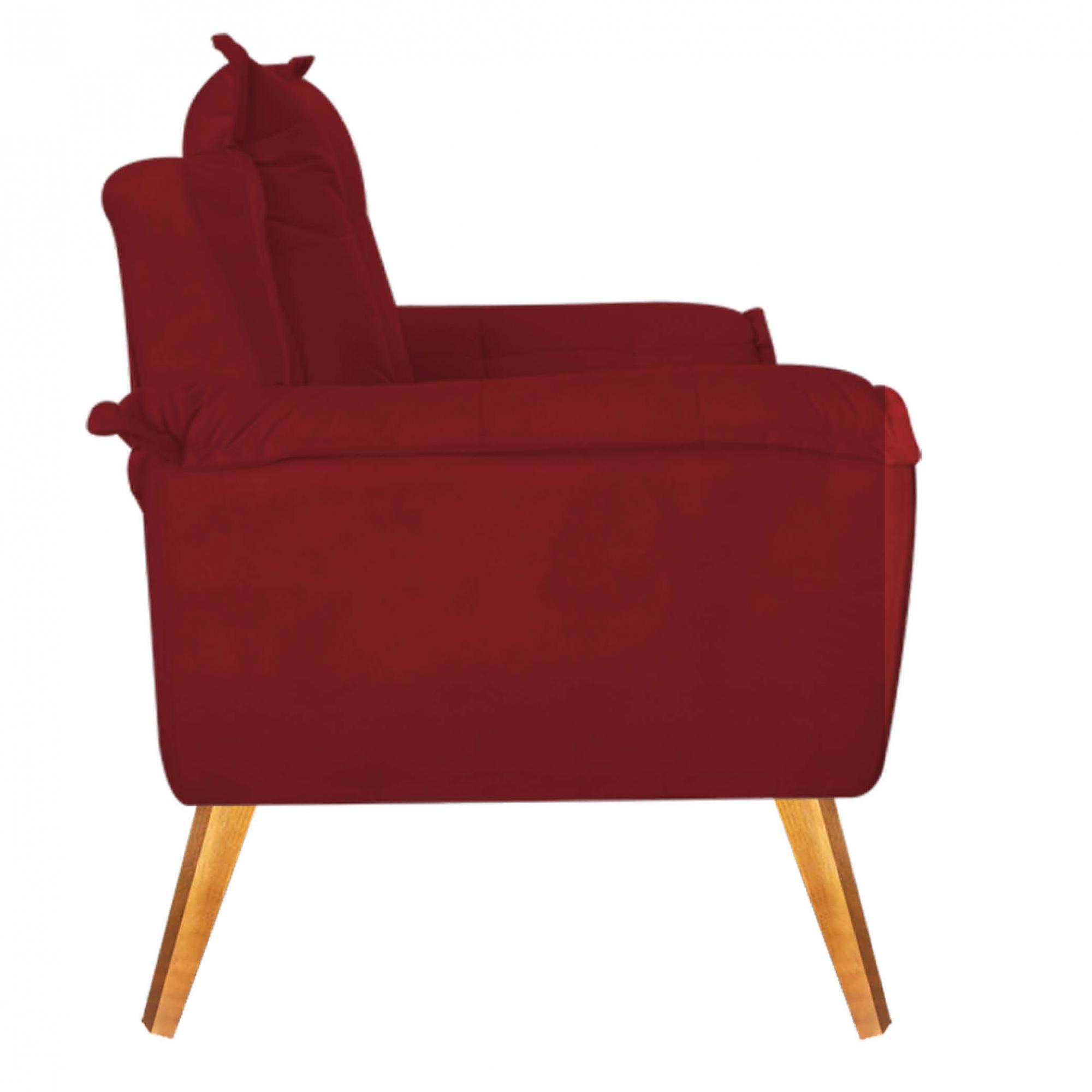 Kit 02 Poltronas Decorativa com Puff Decorativo Gran Paris Suede Vermelho Com Pés Losango