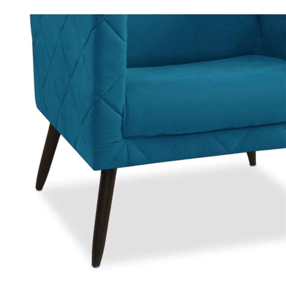 Kit 02 Poltronas Decorativa Maisa Suede Azul - D'Less