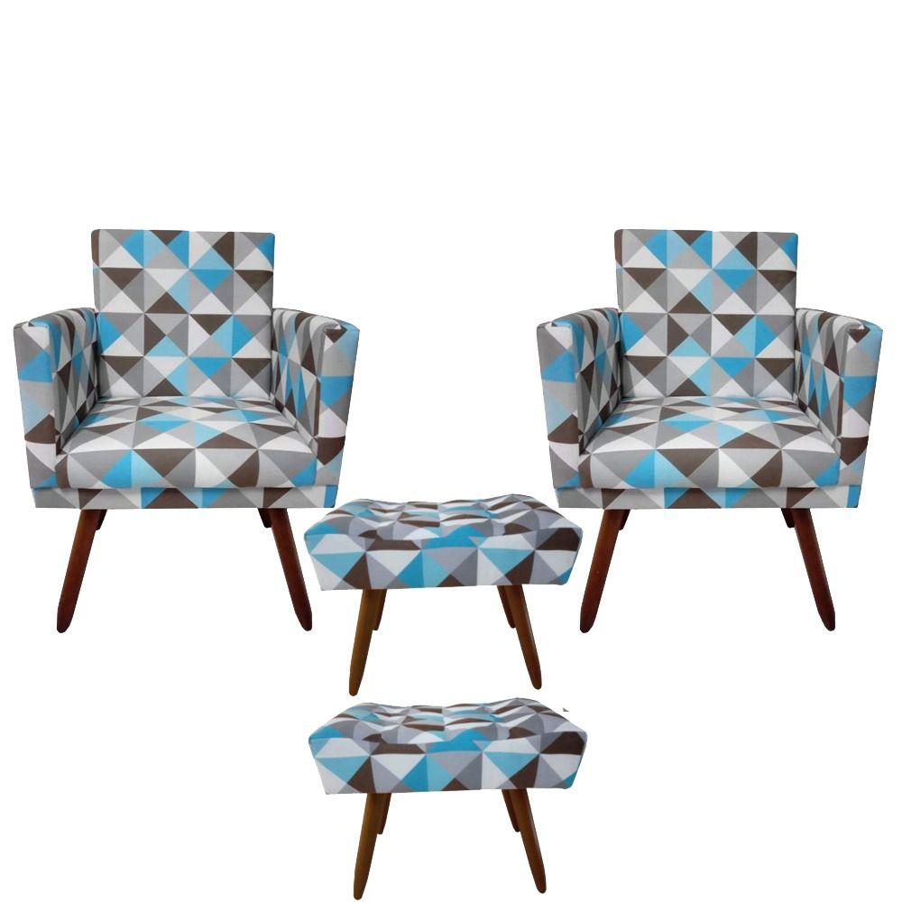 Kit 02 Poltronas Decorativa Nina com rodapé e  02 Puffs retangular Triângulo Azul - Bela Casa Shop