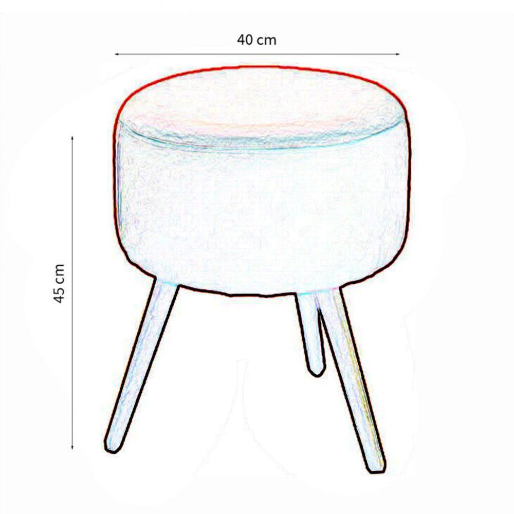 Kit 02 Poltronas Decorativa Nina com rodapé e Puff redondo Marinho - Bela Casa Shop