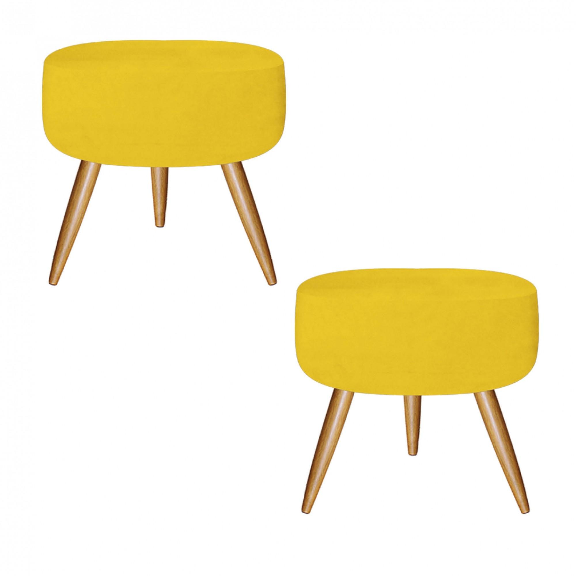 Kit 02 Puff Decorativo redondo suede Amarelo - Bela Casa Shop
