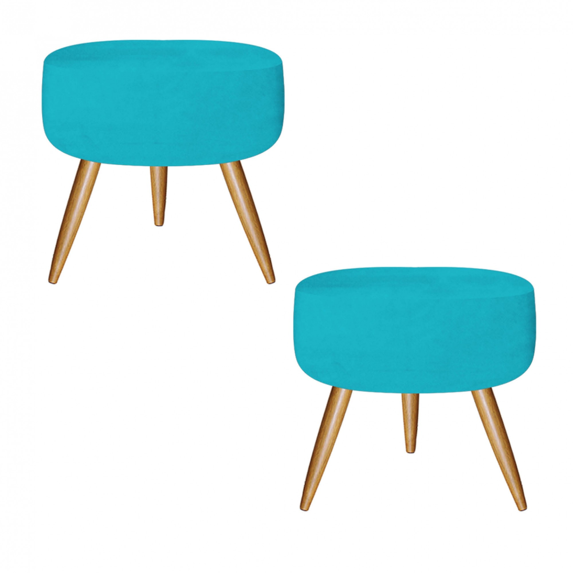 Kit 02 Puff Decorativo Redondo Suede Azul Turquesa - Bela Casa Shop