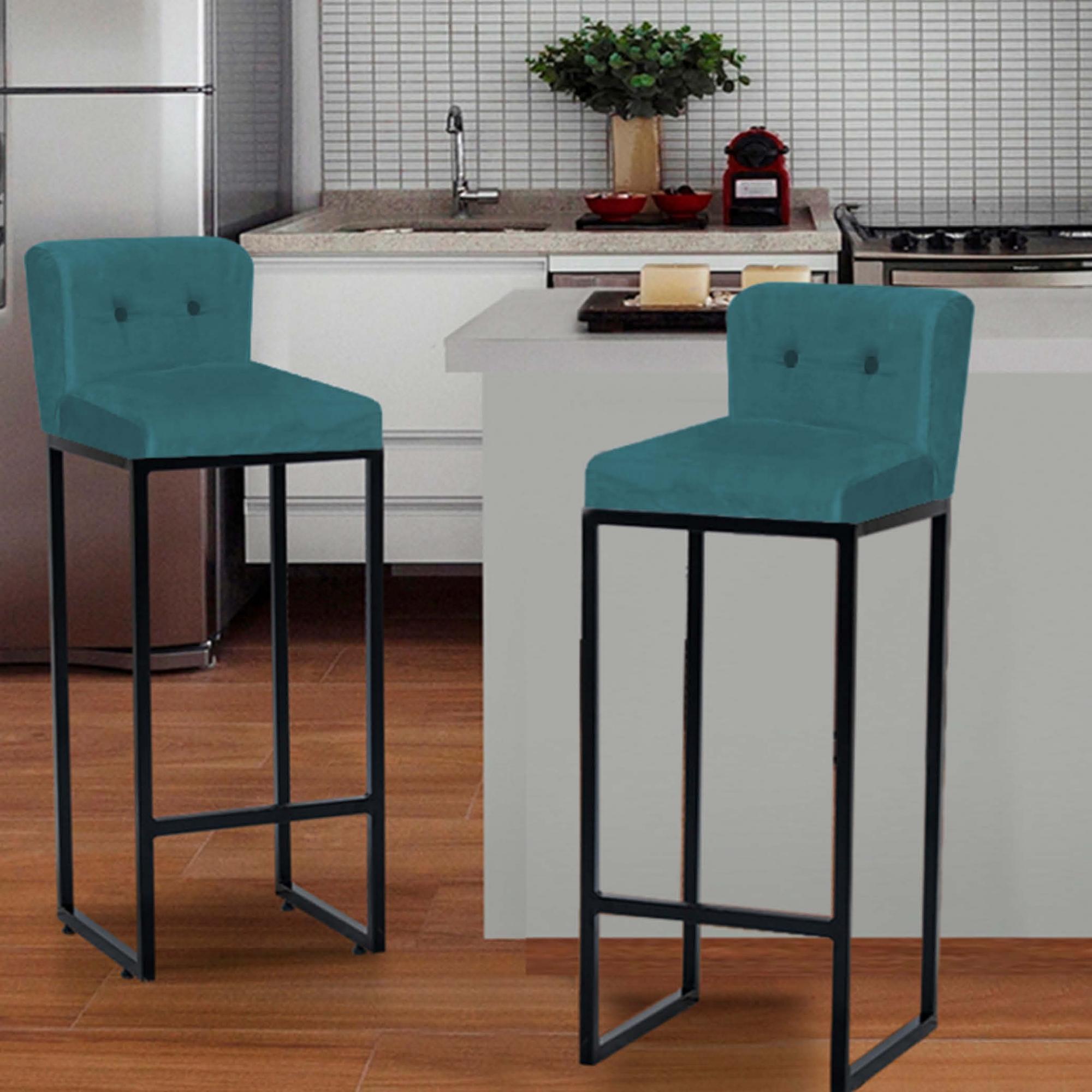 Kit 03 Banquetas Decorativa Alta Loues Suede Azul Turquesa Com Botão e Encosto Para Cozinha Bar Balcão Bistrô Pé de Ferro Preto -Bela Casa Shop