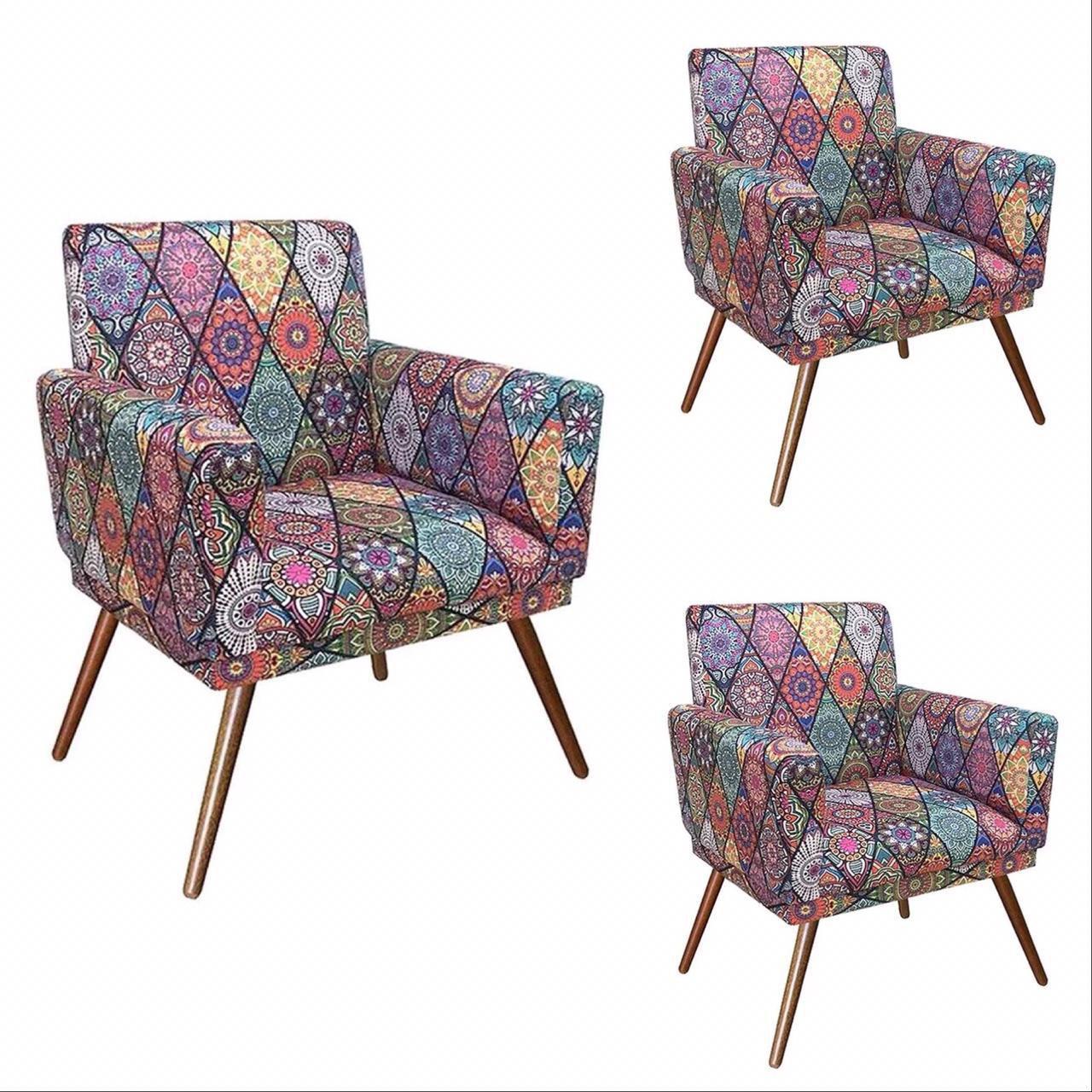 Kit 03 Poltrona Decorativa Nina com rodapé Mosaico- Bela Casa Shop