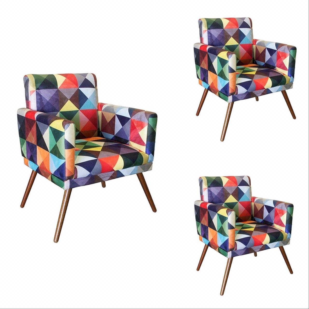 Kit 03 Poltrona Decorativa Nina com rodapé Triângulos- Bela Casa Shop