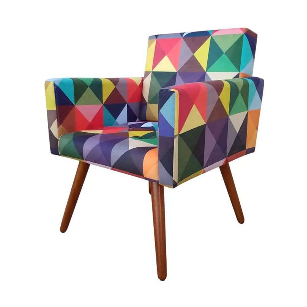Kit 03 Poltronas Decorativa Nina Triângulos - Bela Casa Shop