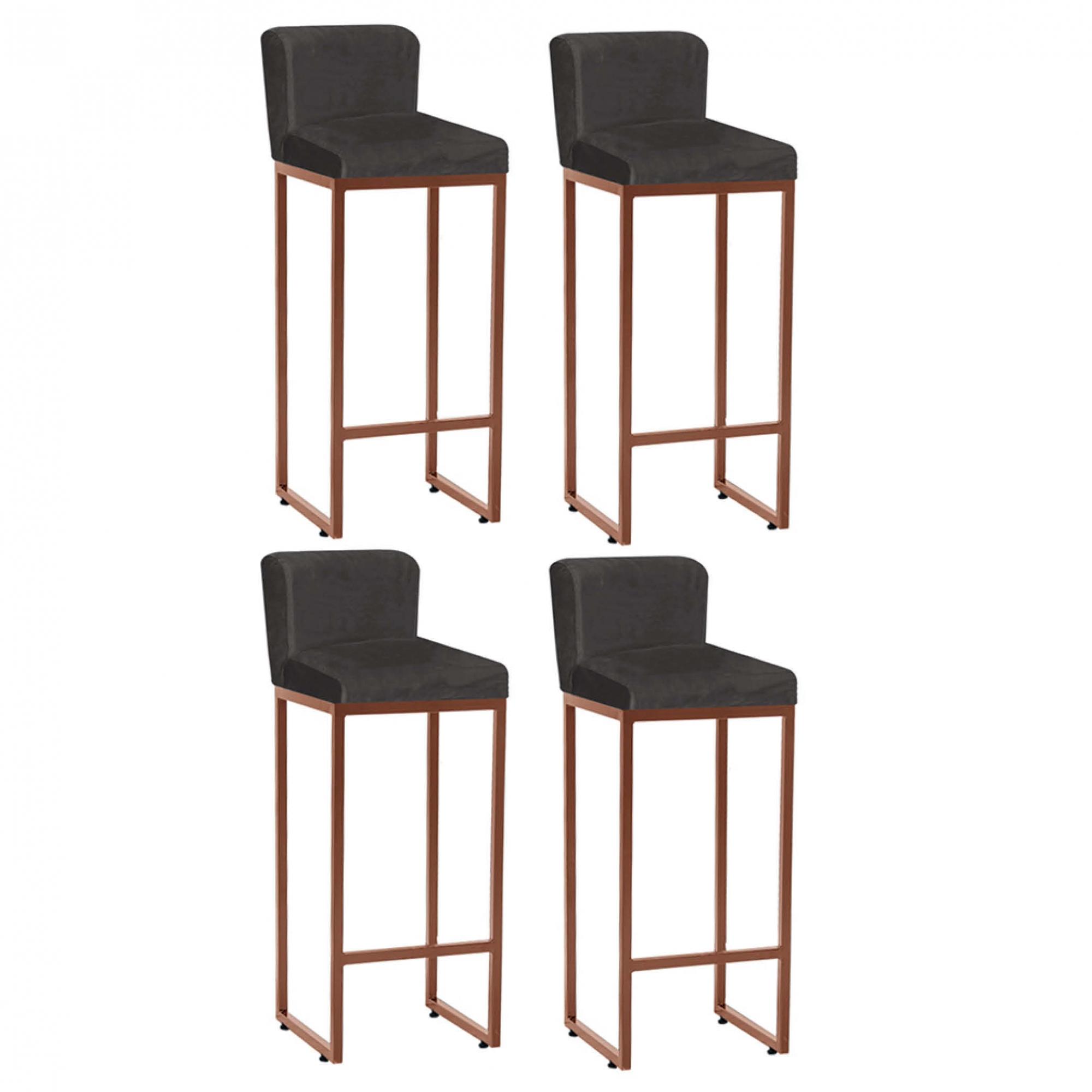 Kit 04 Banquetas Decorativa Alta Loues Tecido Sintético Cinza Com Encosto Para Cozinha Bar Balcão Bistrô Pé de Ferro Bronze -Bela Casa Shop