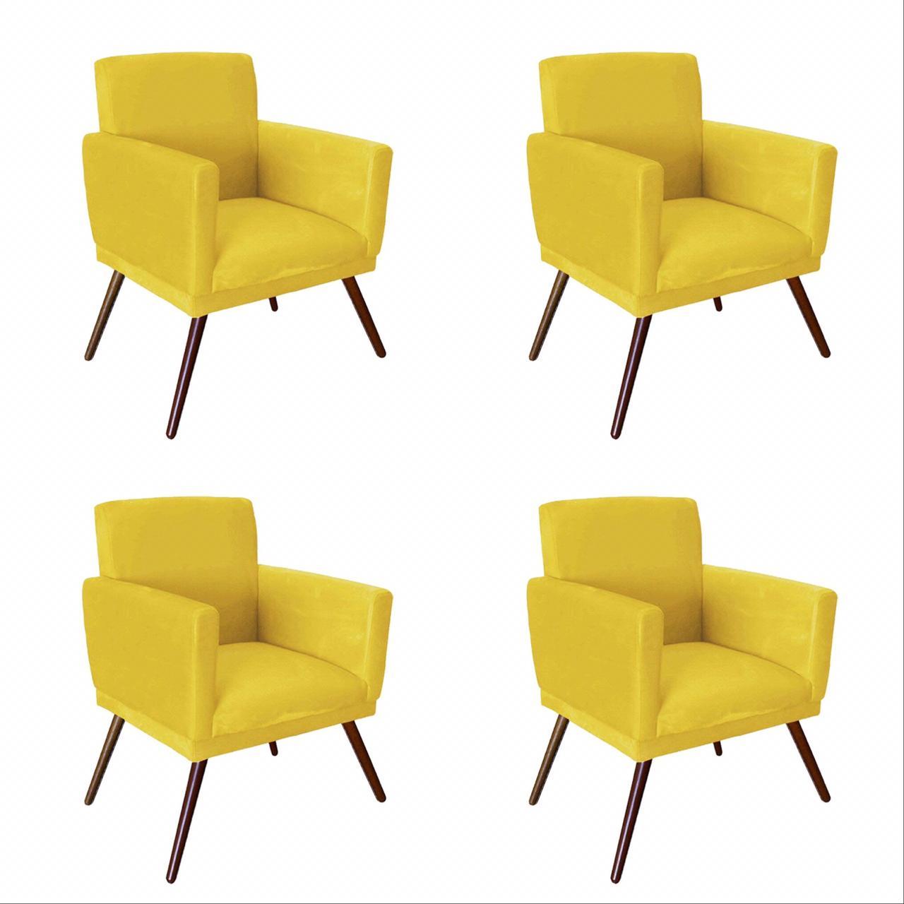 Kit 04 Poltrona Decorativa Nina Com Rodapé Suede Amarelo - Bela Casa Shop
