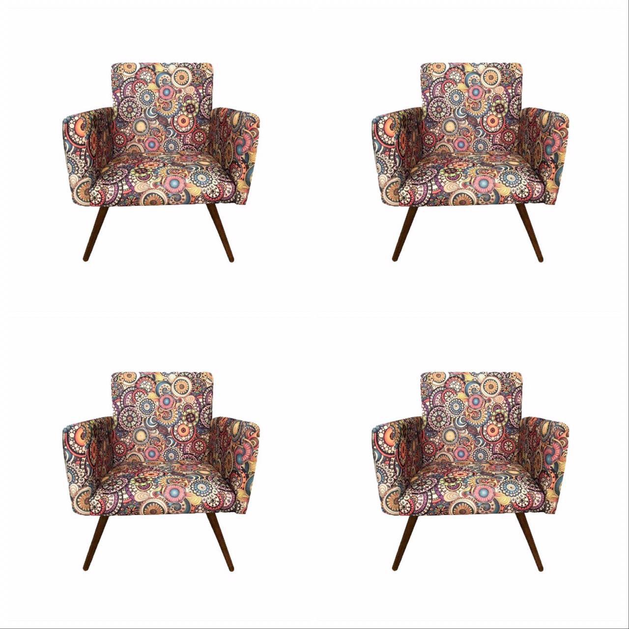 Kit 04 Poltronas Decorativa Nina Mosaico