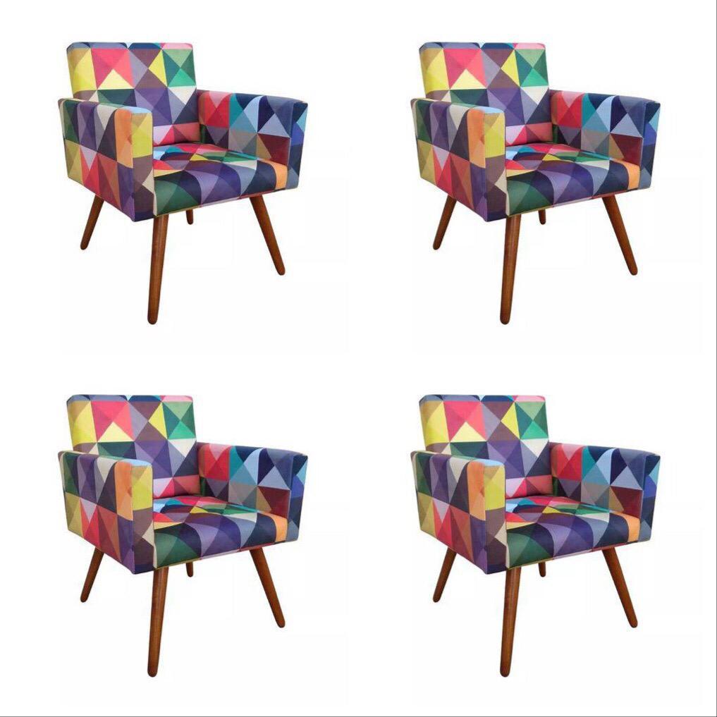 Kit 04 Poltronas Decorativa Nina Triângulos - Bela Casa Shop