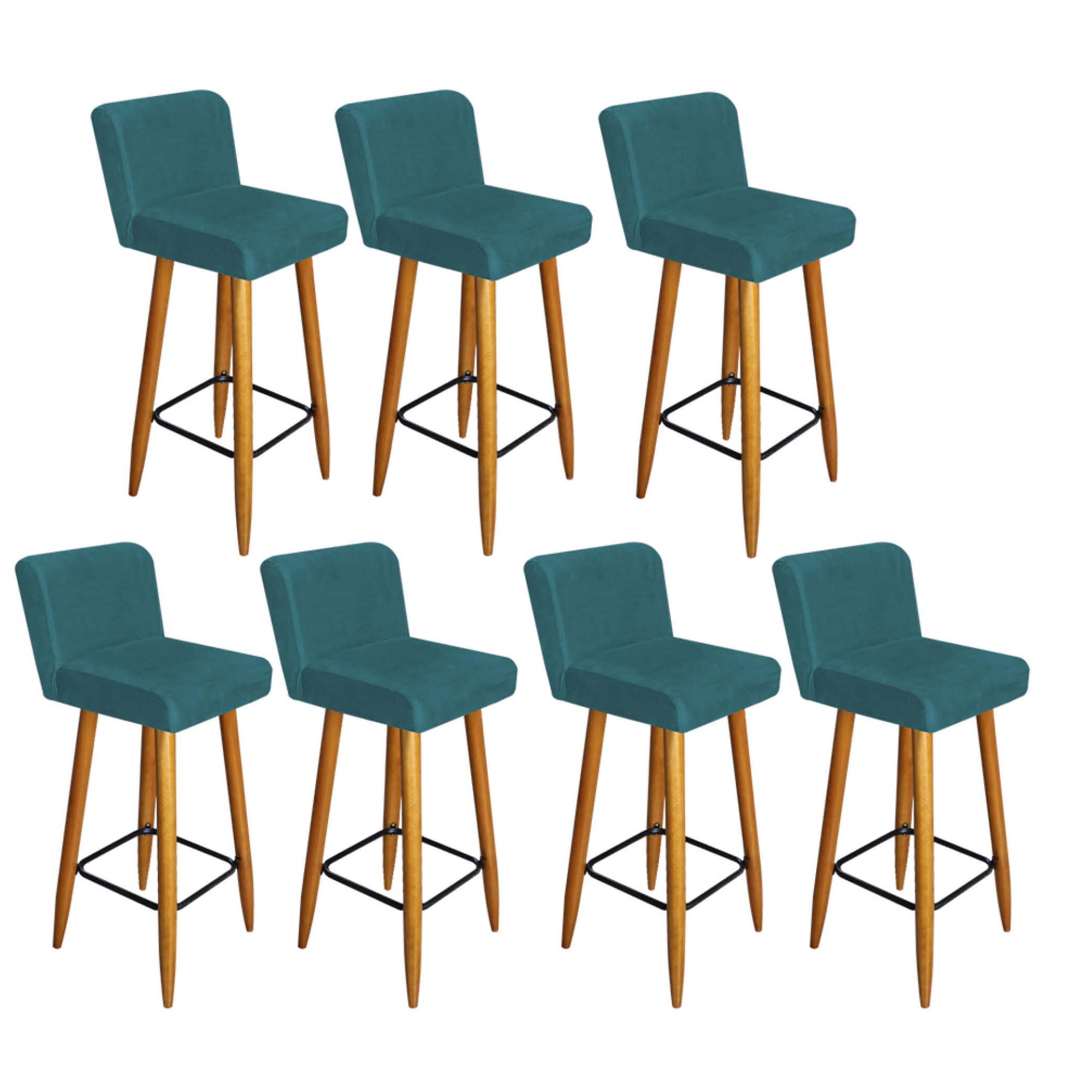 Kit 07 Banquetas Lara Com Encosto Para Balcão e Cozinha Bistrô Suede Azul Turquesa Com Pés Palito Castanho -Bela Casa Sh