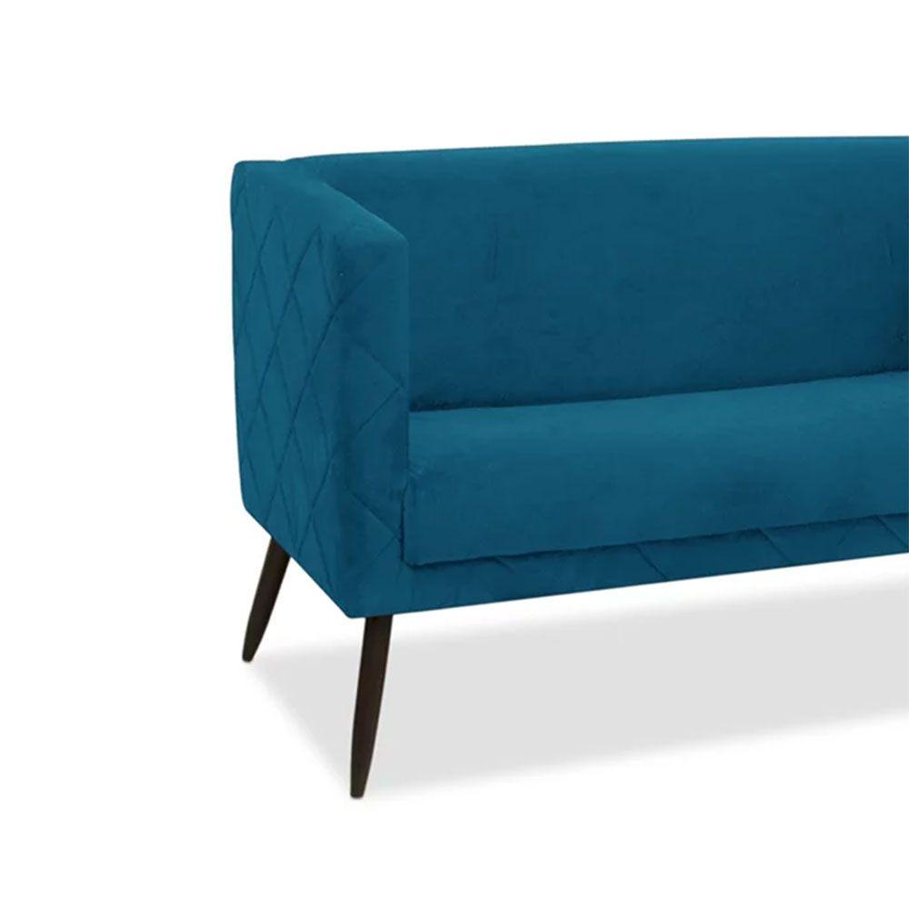 Kit Namoradeira com 2 Poltronas Maisa Suede Azul - D'Less