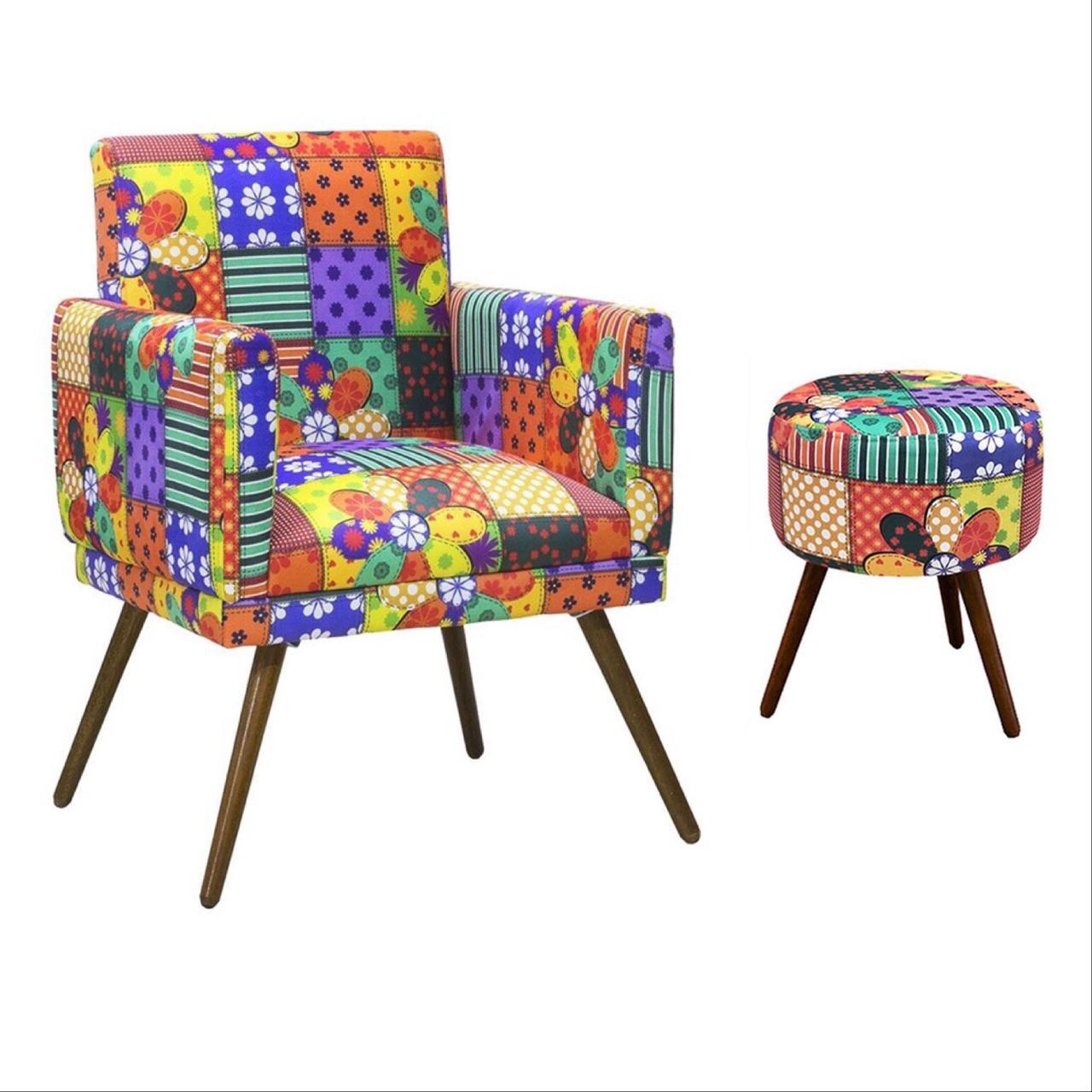 Kit Poltrona Decorativa Nina com rodapé e Puff redondo Patchwork - Bela Casa Shop