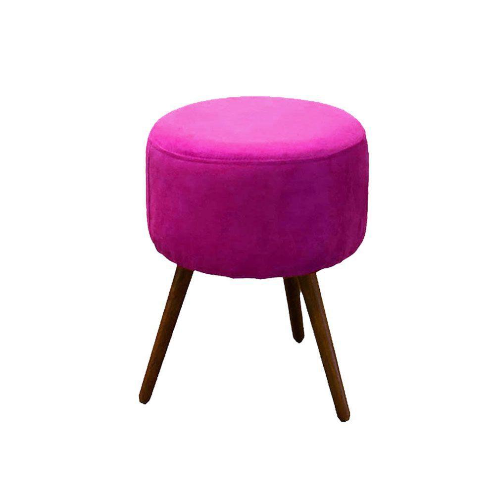Kit Poltrona Decorativa Nina com rodapé e Puff redondo Rosa