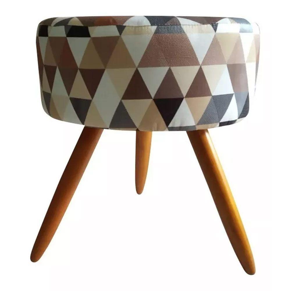 Kit Poltrona Decorativa Nina com e Puff Redondo Triângulos Bege