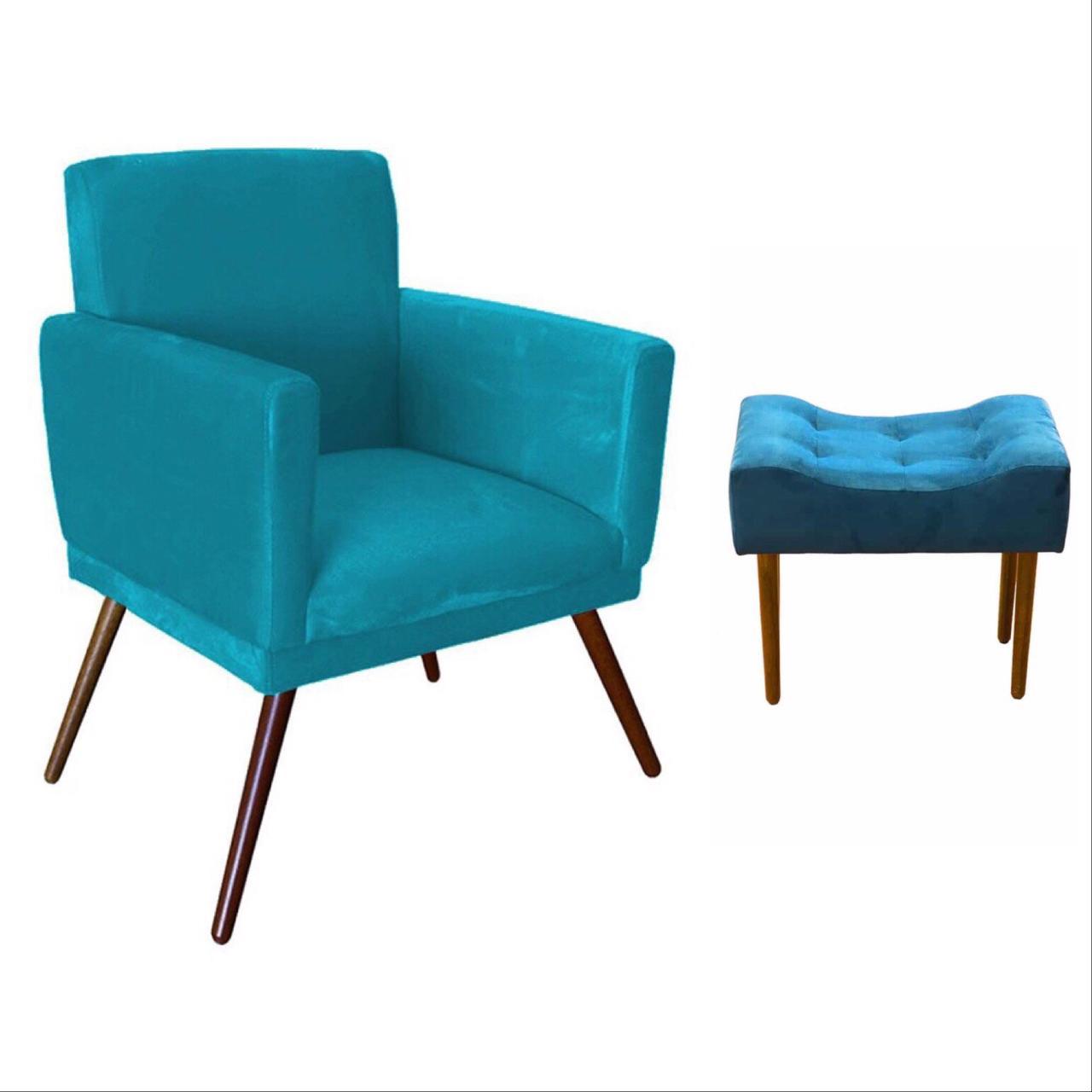 Kit Poltrona Decorativa Nina com rodapé e Puff retangular Azul