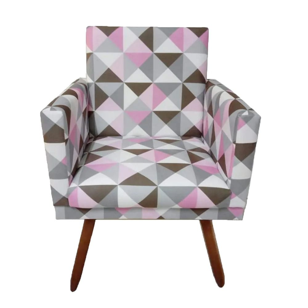 Kit Poltrona Decorativa Nina e Puff Retangular Triângulo Rosa