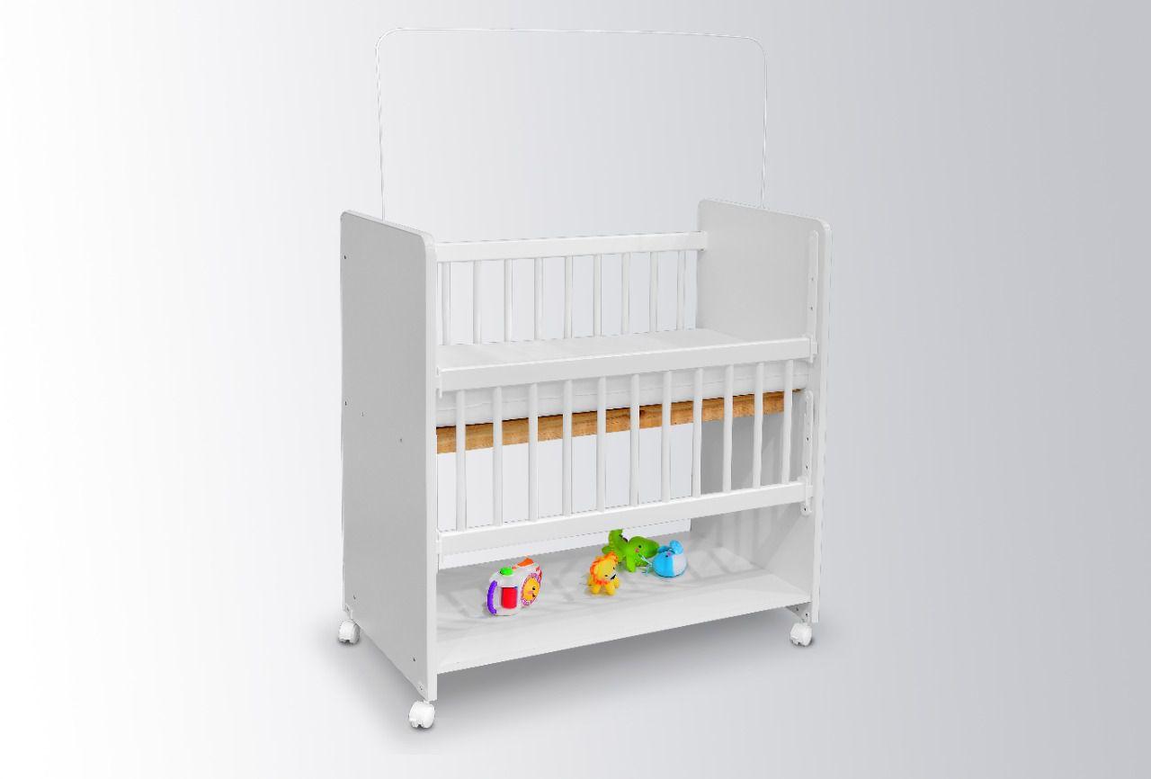 Mini Berço Moisés BedSide Grade Móvel Azul - Bela Casa Shop