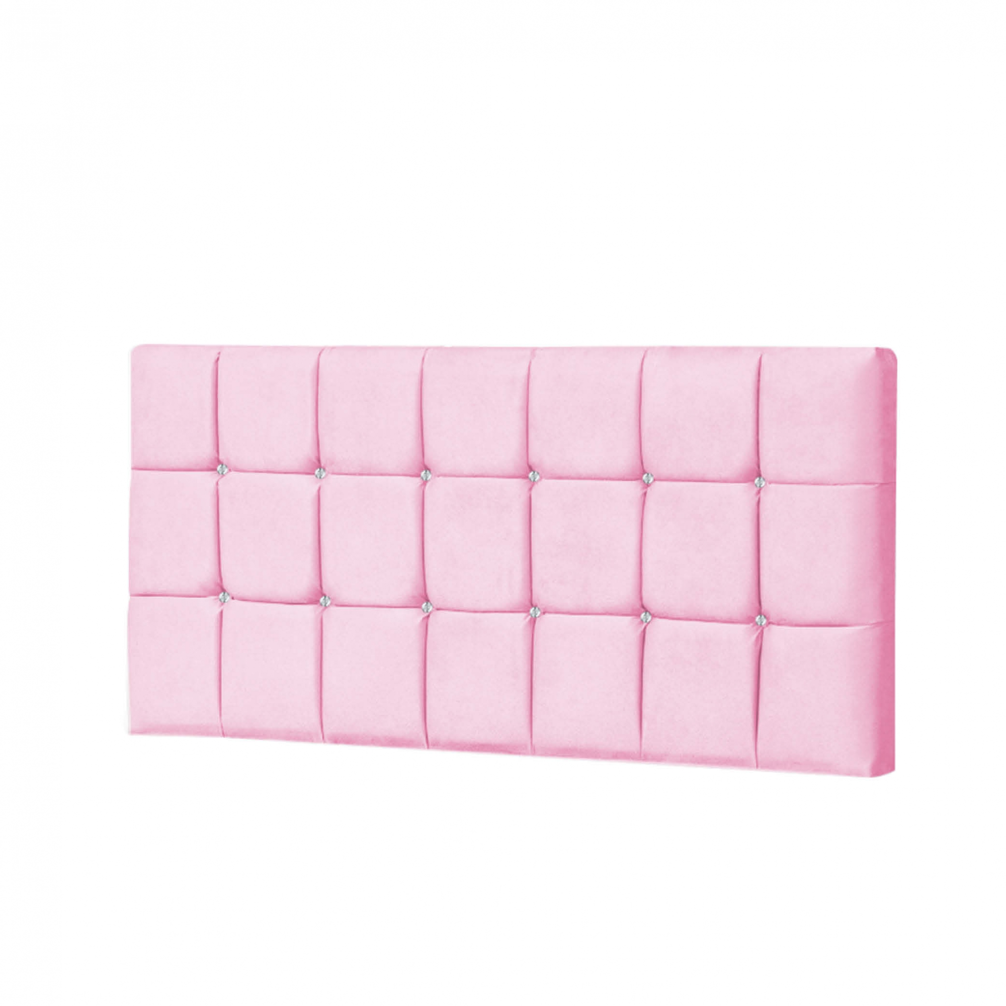 Painel Espanha Estofada King 195cm Tecido Sintético Rosa Com Strass Branco Bela Casa Shop
