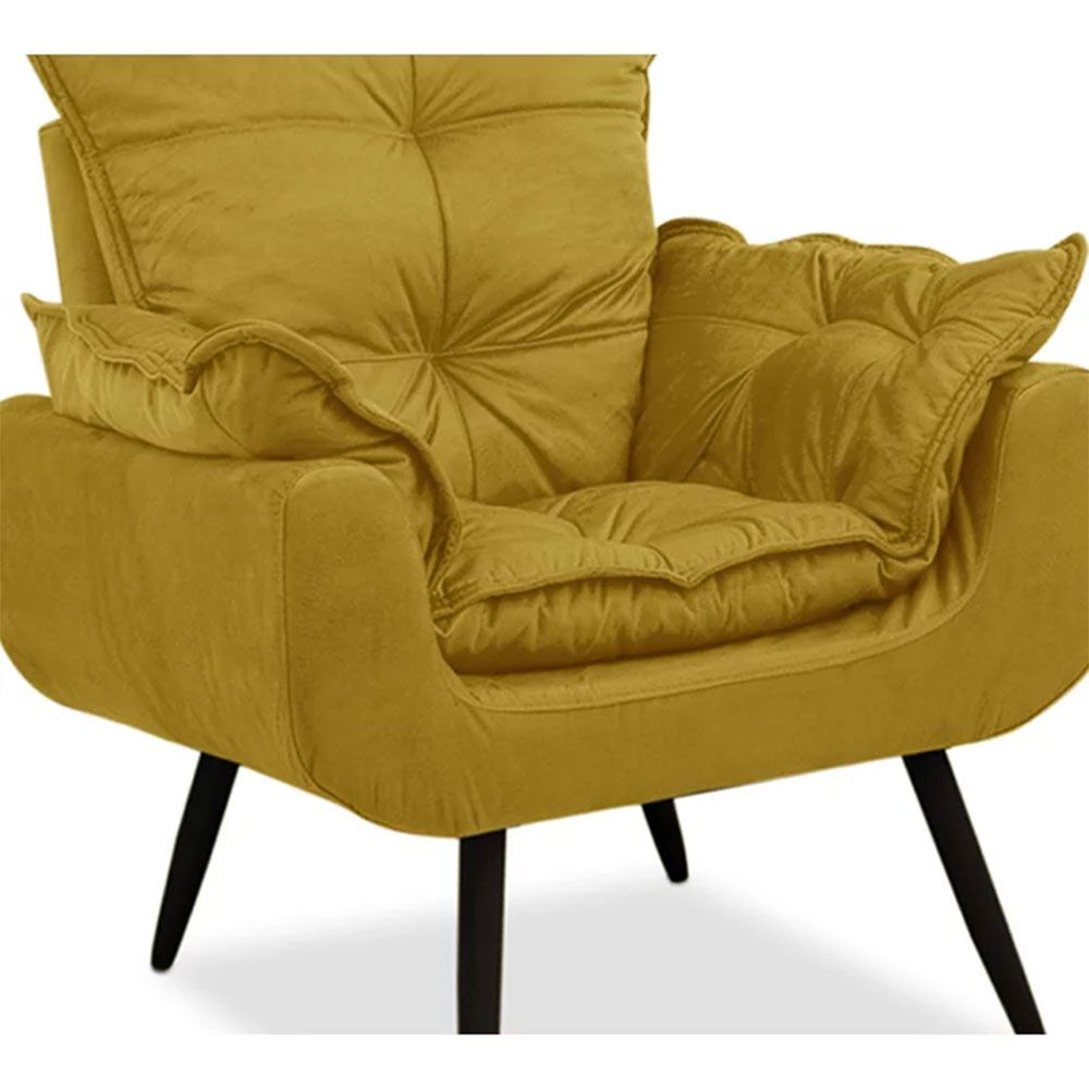 Poltrona Decorativa Ana Julia Suede Amarelo - D'Less