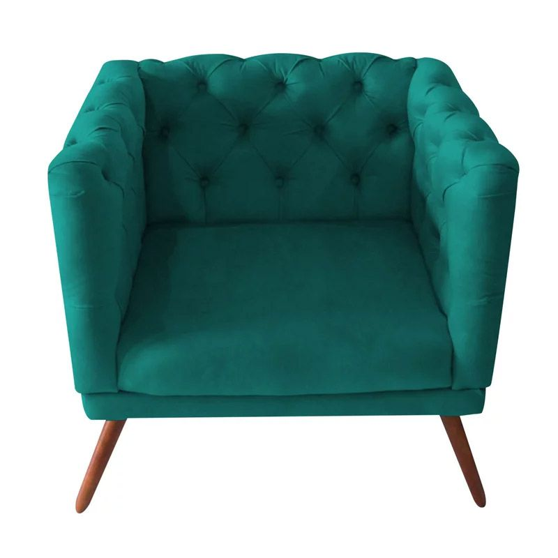 Poltrona Decorativa Capitone Suede Azul Turquesa