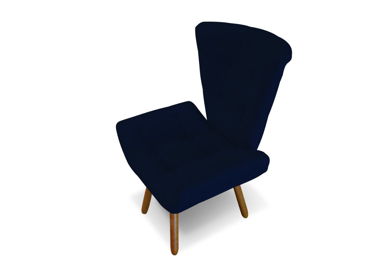Poltrona Decorativa Emilia Suede Azul Marinho