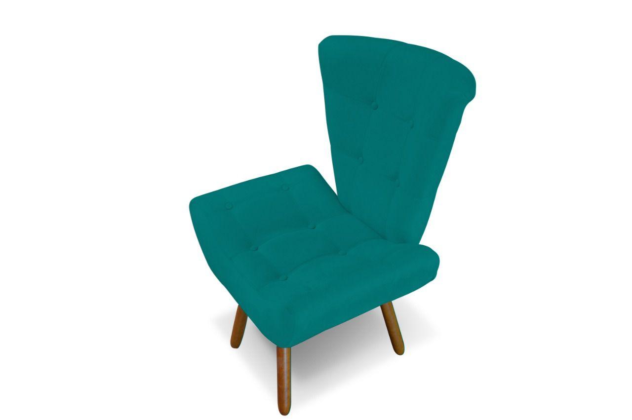Poltrona Decorativa Emilia Azul Turquesa