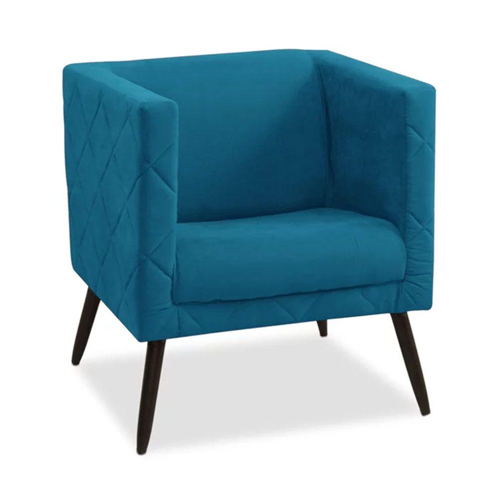 Poltrona Decorativa Maisa Suede Azul - D'Less