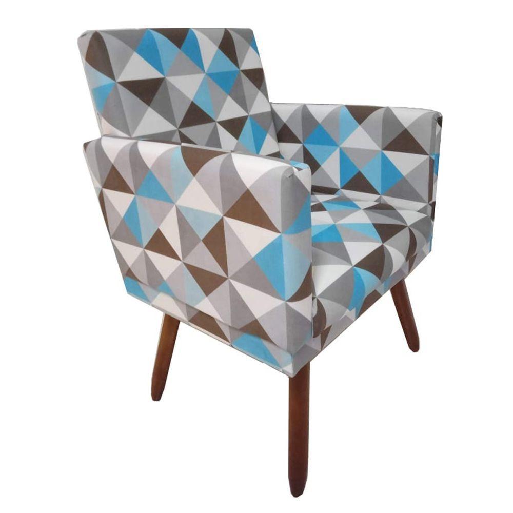 Poltrona Decorativa Nina Com Rodapé  Triângulo Azul
