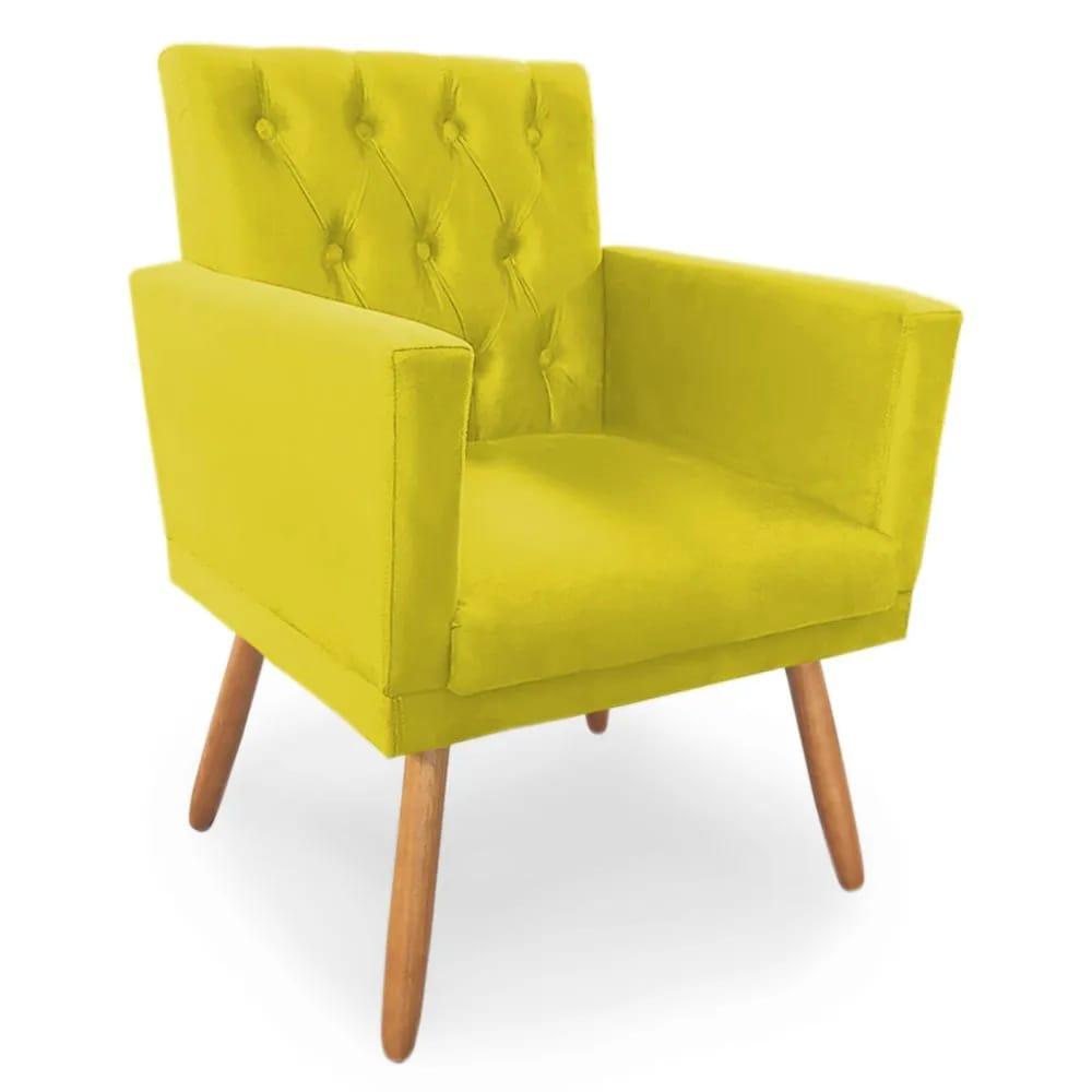 Poltrona Decorativa Nina Capitone Suede Amarelo - Bela Casa Shop